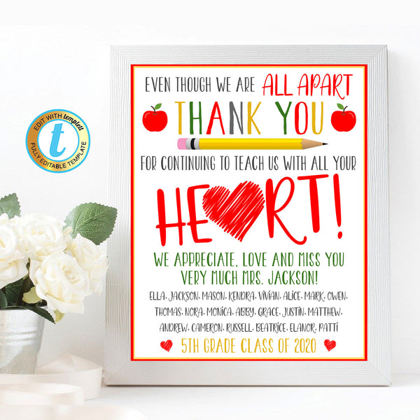 Virtual Teacher Appreciation Week Gift Art, Thank You Gift School Pto Pta, Long Distance Online Learning, Quarantine, DIY Editable Template