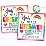 You are a Lifesaver Gift Tag, Teacher Staff Nurse Employee Volunteer School Appreciation Week Gift, Candy Thank You, DIY Editable Template