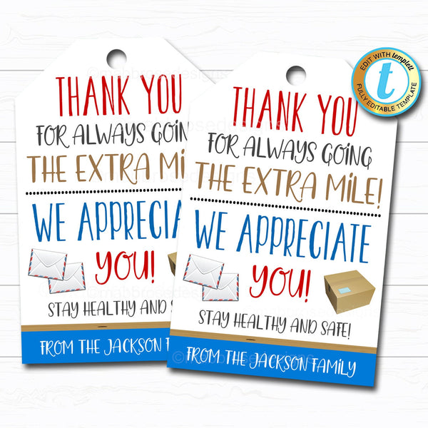 Delivery Driver Appreciation Gift Tag, Thank You Gift Frontlines Worker, Mailman Gift, UPS Fedex Postal Service Worker DIY Editable Template