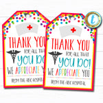 Nurse Appreciation Gift Tag, Thank You Frontlines Worker, Medical Hospital Staff Doctor Gift, Nurse Appreciation Week DIY Editable Template