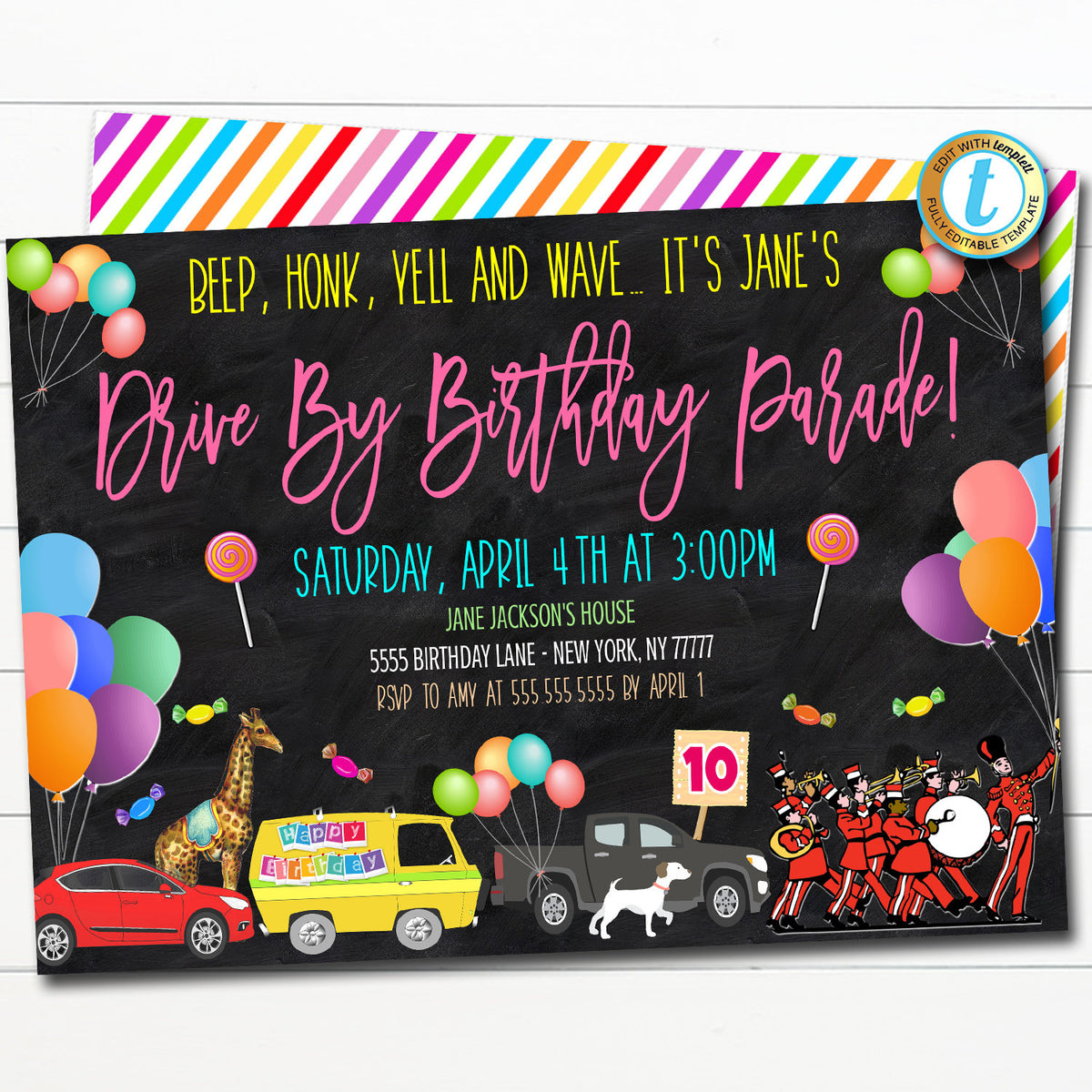 drive by birthday parade invite