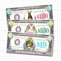 Printable Easter Bunny Money, Play Bunny Bucks, Easter Bunny Dollar Bill Kids, Morning Activity Egg Filler Basket Hunt DIY Instant Download
