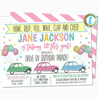 Drive By Birthday Parade Invitation, Virtual Birthday Party Invitation, Digital Kids Girl Party Invite, INSTANT DOWNLOAD Editable Template