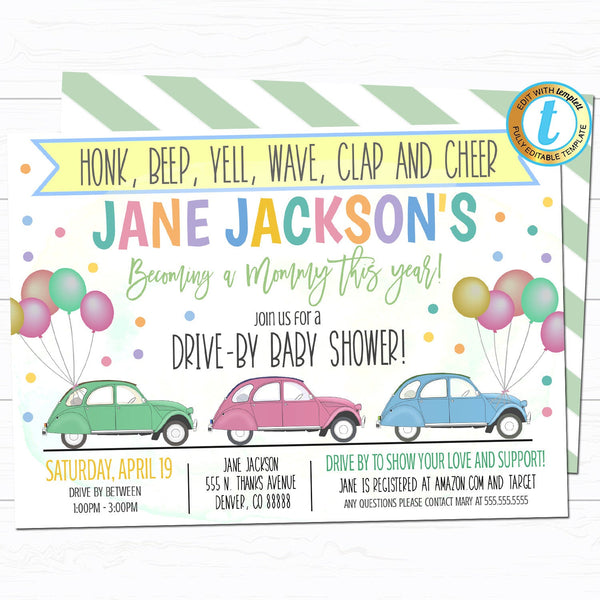 Drive By Baby Shower Parade Invitation, Virtual Pregnancy Party Invitation Digital Mom To Be Party Invite INSTANT DOWNLOAD Editable Template