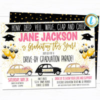 Drive By Graduation Parade Invitation, Virtual Girl High School Grad Party Invitation, Digital Senior, INSTANT DOWNLOAD Editable Template