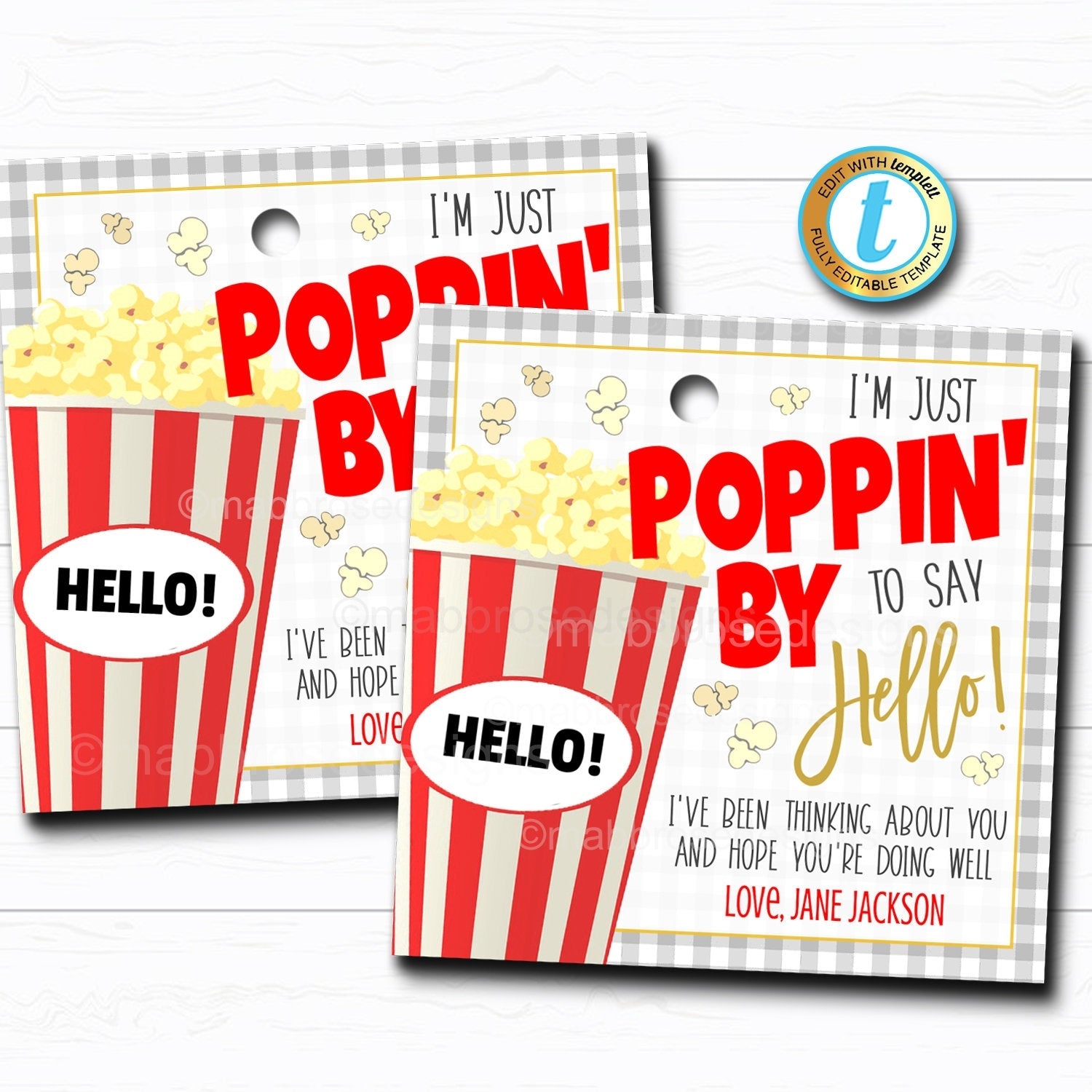 Popcorn Gift Tag Tidylady Printables
