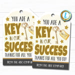 Employee Appreciation Gift Tag, Thank You Success Key Worker Essential Jobs, Corporate Company Teacher School Staff,  DIY Editable Template