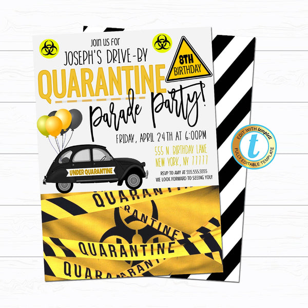 Quarantine Birthday Parade Party Invitation, Virtual Drive By Invitation, Digital Kids Friend Car Invite INSTANT DOWNLOAD Editable Template