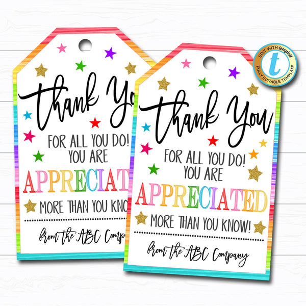 Thank You Gift Tags, Teacher Staff Employee Nurse Volunteer Staff Appreciation Week, You're a Star, School pto pta DIY Editable Template