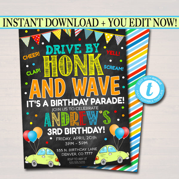 Drive By Birthday Parade Invitation, Virtual Birthday Party Invitation, Digital Kids Friend Party Invite, INSTANT DOWNLOAD Editable Template