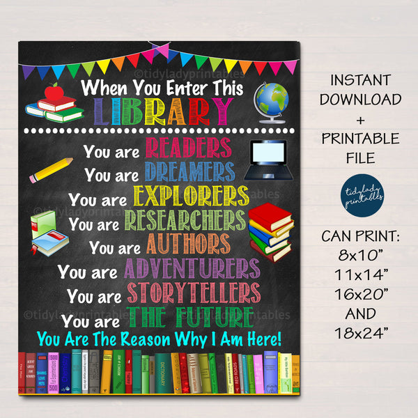 School Library Classroom Printable Poster, Librarian Decor, Technology Teacher, Media Room, In This Classroom Rules Sign, INSTANT DOWNLOAD