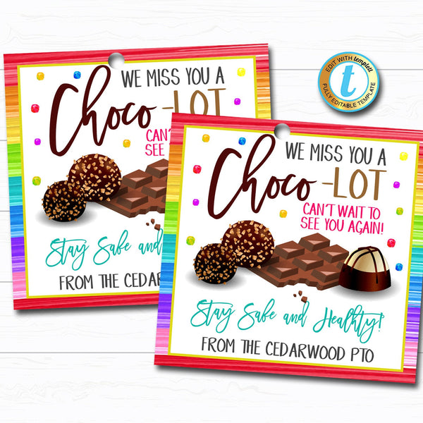 Chocolate Gift Tag, Quarantine Candy Treat Tag, Neighbor Teacher Coworker Staff Well Wishes Thinking of You Gift Tag DIY Editable Template
