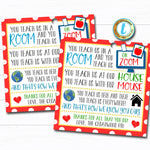 Virtual Teacher Appreciation Gift Tag, Thank You Staff School Pto Pta, Long Distance Online Learning Zoom Teacher Poem DIY Editable Template