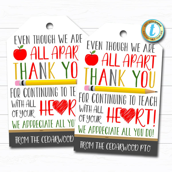 Virtual Teacher Appreciation Week Gift Tag, Thank You Gift School Pto Pta, Long Distance Online Learning, Quarantine, DIY Editable Template