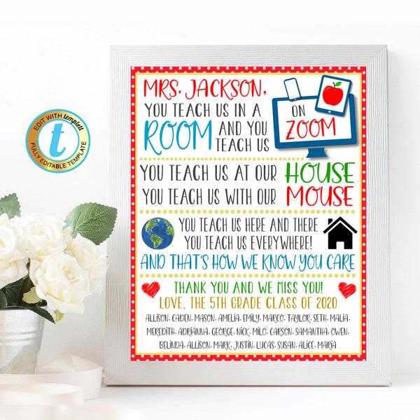 Virtual Teacher Appreciation Gift, Thank You Staff School Pto Pta, Long Distance Online Learning Zoom Teacher Poem Art DIY Editable Template