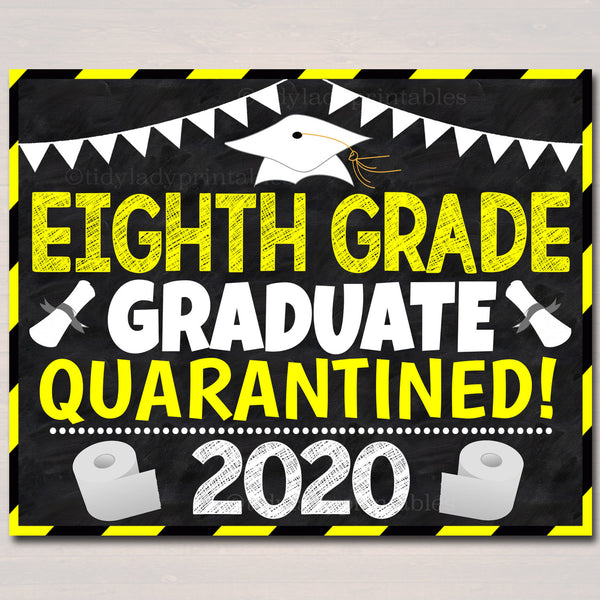 8th grade graduation, Quarantine 2020, Last Day of Middle School End of School Chalkboard Poster, Virtual School Printable, Instant Download