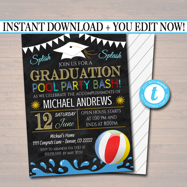 Editable Pool Party Graduation Invitation Chalkboard Printable Digital College Grad Invite Senior High School Grad Party, Grill & Chill BBQ