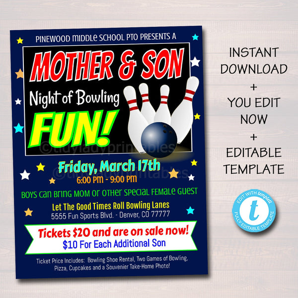 Mother Son Bowling Flyer, Dance Date Invitation, Family Game Night, Church Community Event, School pto, pta, INSTANT DOWNLOAD, Editable