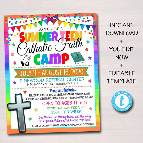 Catholic Bible Camp Flyer, Religious Retreat Church Camp, Marketing Invite, Middle High School Teen Faith Study Printable, Editable Template
