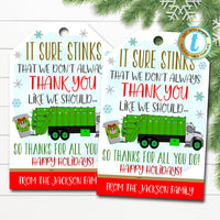 Christmas Garbage Truck Driver Appreciation Gift Tag, Thank You Frontlines Worker, It Sure Stinks Recycling, Holiday DIY Editable Template