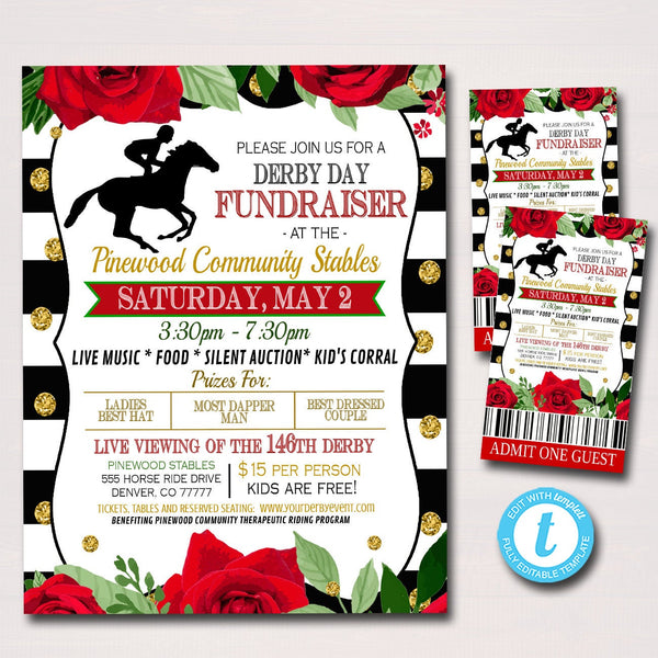 Derby Fundraiser Flyer, Invitation Ticket Set, Red Roses Invite, Benefit Charity Nonprofit Hat Contest Party, Derby Day, EDITABLE TEMPLATE