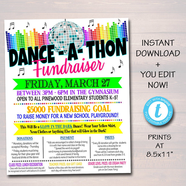 Dance-a-Thon Fundraiser Flyer, Printable School pto pta, Church Music Dance Fundraiser Event, Printable Digital Invite, EDITABLE TEMPLATE