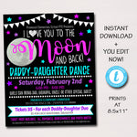Daddy Daughter Dance Flyer Invitation, Starry Night Love You to the Moon and Back School pto pta Church Event, INSTANT DOWNLOAD Editable