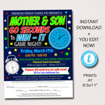 Mother Son Game Night Flyer, Minute 60 Seconds to Win it, Family Night Out, Church Charity Event, School pto pta INSTANT DOWNLOAD, Editable