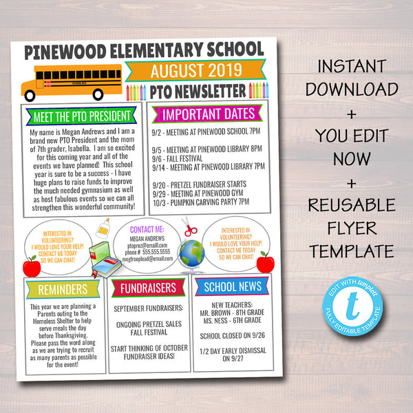 August PTO PTA Newsletter Flyer, Classroom Printable Handout, School Year Calendar Back to School Meeting Agenda Organizer EDITABLE Template
