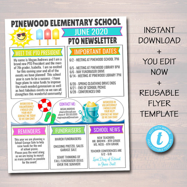 June PTO PTA Newsletter Flyer, Classroom Printable Handout End of School Year Calendar, Meeting Agenda Printable Organizer EDITABLE Template