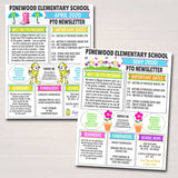 50% OFF Pto Pta Newsletter Template Set, Classroom Printable Handout Flyer, Seasonal School Year Meeting Agenda Organizer, EDITABLE Template