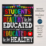 School Nurse Office Decor, Students Must Be Healthy to be Educated, School Health Office, Health Clinic Printable Wall Art INSTANT DOWNLOAD
