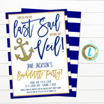 Last Sail Before The Veil Nautical Bachelorette Party Invite, Girls Boat Party, Digital Bridal Invite, INSTANT DOWNLOAD Editable Template