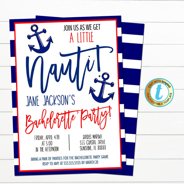 Nautical Bachelorette Party Invite, Let's get Nauti Girls Coastal Beach Boat Party, Digital Bridal Invite INSTANT DOWNLOAD Editable Template