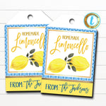 Limoncello Gift Tags, Homemade Lemon Liquor Syrup Gift Tag, Italian Greek Mediterranean Tag, From the Kitchen of Label DIY Editable Template