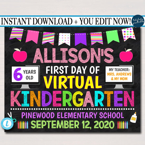 First Day Of Virtual School Sign, Back to School 2020 Chalkboard Poster Quarantine Sign, Any Grade Sign, 1st Day of School Editable Template