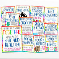 COVID19 Classroom Poster Set, Face Masks Required, School Safety Guidelines & Virus Prevention Posters, Wash Hands, Digital Instant Download