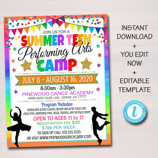Summer Camp Flyer, Performing Arts, Dance Drama Theater Camp, Marketing Invite, Middle High School Teen Printable Editable Template