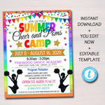 Cheerleading Camp Flyer, Girls Cheer Poms Dance Team Summer Camp, Marketing Invite, Middle High School Teen Printable Editable Template