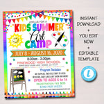 Summer Art Camp Flyer, Kids Little Artist Teacher Camp, Marketing Invitation, Elementary Middle High School, Printable Editable Template