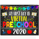 First Day of Preschool 2020 Quarantine, Virtual Distance Online E-learning, Back to School Chalkboard Sign, Printable, Instant Download
