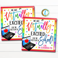 Virtual Back To School Teacher Gift tag, Thank You Gift School Pto Pta Staff Long Distance Online Learning Quarantine, DIY Editable Template