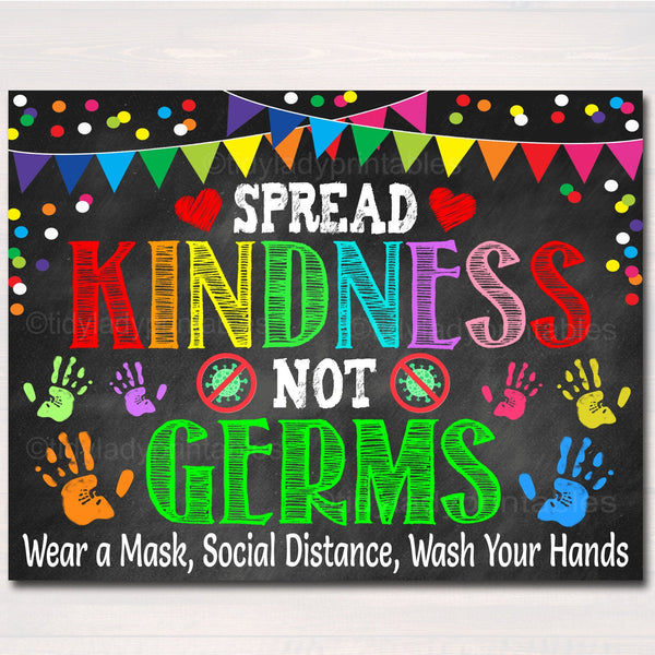 Spread Kindness Not Germs, Health Room Nurse Office, School Health Safety Poster, Health Clinic Wall Art, Classroom Decor, INSTANT DOWNLOAD