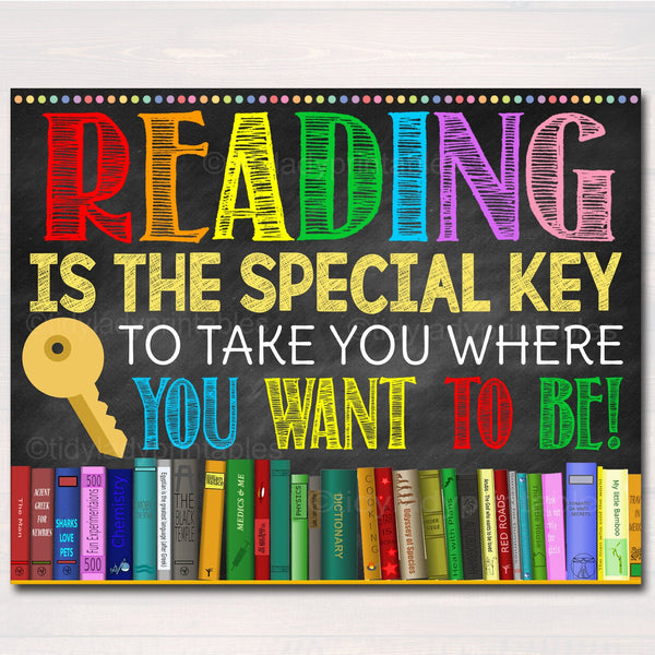 Printable Reading Poster, Welcome Library School Sign, Classroom School Library Decor, Reading is a key that takes you where want to be!