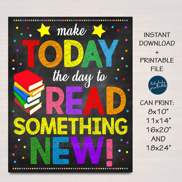Reading Poster, School Library English Classroom Printable Poster, Librarian Decor, Read Something New Inspirational Art, INSTANT DOWNLOAD