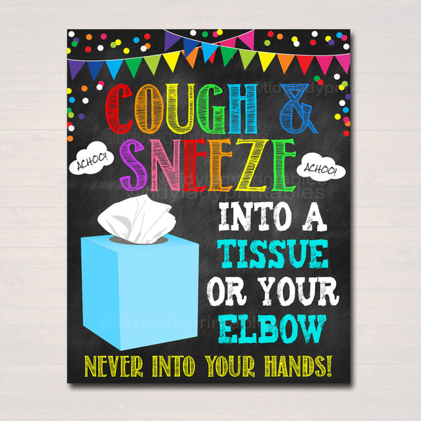 Cover Your Sneeze and Cough Poster, Health Safety Prevention, Teacher School Classroom Sign, School Nurse Health Clinic, INSTANT DOWNLOAD