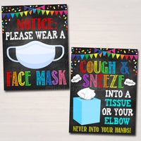 School Health Safety Poster Set, Health Clinic Nurse, Classroom Teacher Social Distance, Wash Hands, Wear a Face Mask Rules INSTANT DOWNLOAD