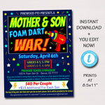 Mother Son Date Night, Foam Dart Gun War, Family Activity Game Night Printable, Church School pto pta, INSTANT DOWNLOAD, Editable template
