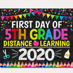 First Day of Fifth Grade 2020 Quarantine, Virtual Distance Online E-learning, Back to School Chalkboard Sign, Printable, Instant Download