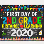 First Day of Second Grade 2020 Quarantine, Virtual Distance Online E-learning, Back to School Chalkboard Sign, Printable, Instant Download